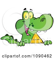 Clipart Happy Alligator Smiling Over A Sign Board Royalty Free Vector Illustration