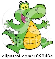 Clipart Happy Alligator Jumping Royalty Free Vector Illustration by Hit Toon