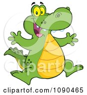 Clipart Excited Alligator Jumping Royalty Free Vector Illustration by Hit Toon