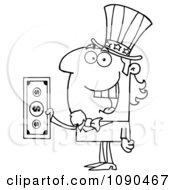 Clipart Outlined Uncle Sam Holding Tax Dollars Royalty Free Vector Illustration by Hit Toon