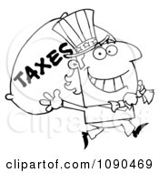 Clipart Outlined Uncle Sam Carrying A Taxes Sack Royalty Free Vector Illustration by Hit Toon
