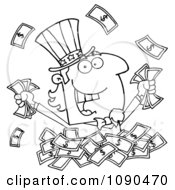 Clipart Outlined Uncle Sam Playing In A Pile Of Cash Royalty Free Vector Illustration by Hit Toon