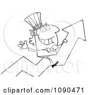 Clipart Outlined Uncle Sam Riding A Growth Arrow Royalty Free Vector Illustration by Hit Toon