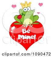 Clipart Frog Prince With A Rose On A Be Mine Heart Valentine Royalty Free Vector Illustration by Hit Toon