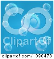 Clipart Transparent Bubbles Floating Over Blue Royalty Free Vector Illustration