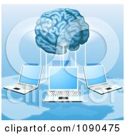 Clipart 3d Brain Connected To A Network Of Laptops Above A Map Royalty Free Vector Illustration