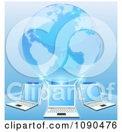 Clipart Blue 3d Globe Connected To A Network Of Laptop Computers Royalty Free Vector Illustration by AtStockIllustration