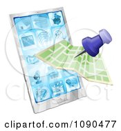 Clipart Road Or City Map Flying Out Of A Mobile Phone Royalty Free Vector Illustration by AtStockIllustration
