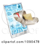 Clipart 3d Mailbox And Light Over A Smart Phone Royalty Free Vector Illustration