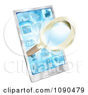 Clipart 3d Magnifying Glass And Light Over A Smart Phone Royalty Free Vector Illustration