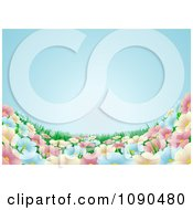 Clipart Blue Sky Over A Spring Flower Meadow Background Royalty Free Vector Illustration