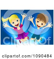 Clipart Happy Blond Girl And Brunette Boy Jumping Over Blue Royalty Free Vector Illustration