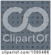 Clipart 100 Embossed Blue Internet Or Web Browser Icons Royalty Free Vector Illustration