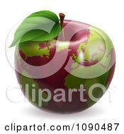 Clipart 3d Red Apple Globe With Green Continents Royalty Free Vector Illustration by AtStockIllustration
