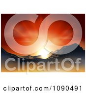 Clipart Orange Sunset Over A Mountainous Landscape Royalty Free Vector Illustration