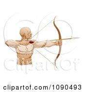 Strong Archer Facing Right And Aiming An Arrow