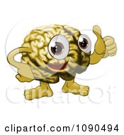 Clipart Brain Guy Holding A Thumb Up Royalty Free Vector Illustration