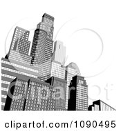 Clipart 3d Grayscale City Skyscrapers With White Copyspace Royalty Free Vector Illustration by AtStockIllustration