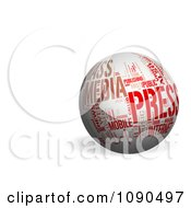 3d White Globe With Red Media And Press Words And Copyspace