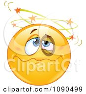 Clipart Knocked Out Emoticon Face Seeing Stars Royalty Free Vector Illustration