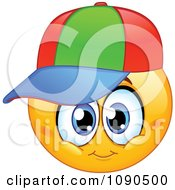 Clipart Boy Emoticon Face With A Colorful Hat Royalty Free Vector Illustration
