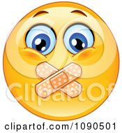 Clipart Silenced Emoticon Face With Bandages Over His Mouth Royalty Free Vector Illustration