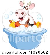 Clipart Cute Cow Floating In A Bath Tub Royalty Free Vector Illustration