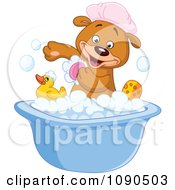 Clipart Cute Teddy Bear Scrubbing His Arm In A Bath Tub Royalty Free Vector Illustration
