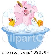 Clipart Cute Pig Scrubbing His Back In A Bath Tub Royalty Free Vector Illustration by yayayoyo