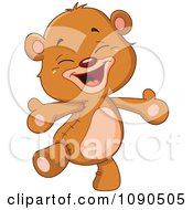 Clipart Cute Teddy Bear Walking And Wanting A Hug Royalty Free Vector Illustration by yayayoyo