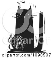 Clipart Cat Playing With A Ball Of String Black And White Woodcut Royalty Free Vector Illustration