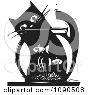 Clipart Cat Watching Fish In A Bowl Black And White Woodcut Royalty Free Vector Illustration