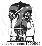 Clipart Male Astronomers Using A Telescope And Globe Black And White Woodcut Royalty Free Vector Illustration