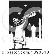 Clipart Arabian Man Using A Telescope To View The Stars Black And White Woodcut Royalty Free Vector Illustration