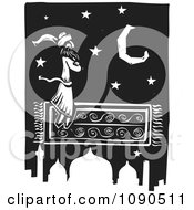 Clipart Arabian Man Flying On A Magic Carpet Over A Mosque Black And White Woodcut Royalty Free Vector Illustration