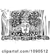 Clipart Mayan Face Carved In A Statue Black And White Woodcut Royalty Free Vector Illustration