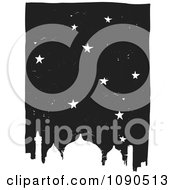 Clipart Starry Night Sky Over A Mosque Black And White Woodcut Royalty Free Vector Illustration