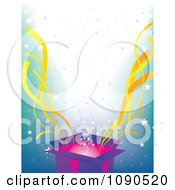 Surprise Open Gift Box With Yellow Streamers And Stars Over Blue