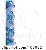 Left Border Of Blue And Green Watercolor Blotting With White Copyspace