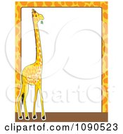 Giraffe Print And Animal Frame Border With White Copyspace