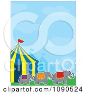 Three Elephants Outdoors By Big Top Circus Tents Under A Blue Sky