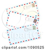 Clipart Three Postmarked Air Mail Envelopes Royalty Free Vector Illustration