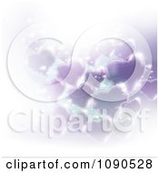 Clipart Background Of Purple Hearts With Bright Sparkles On White Royalty Free Vector Illustration