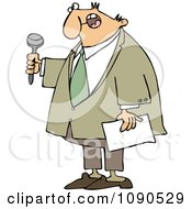 Clipart Male Master Of Ceremonies Holding A Microphone And Paper Royalty Free Vector Illustration