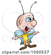 Clipart Shrugging Butterfly Talking Royalty Free Vector Illustration