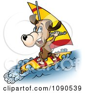 Clipart Brown Dog Windsurfing Royalty Free Vector Illustration by dero