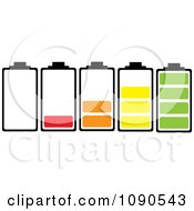 Clipart Bateries With Different Colorful Charge Levels Royalty Free Vector Illustration