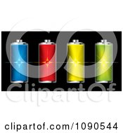 Clipart Colorful 3d Fully Charged Batteries With Flares Royalty Free Vector Illustration