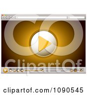 Clipart Orange Internet Video Play Icon And Control Buttons On A Browser Royalty Free Vector Illustration