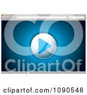 Clipart Blue Internet Video Play Icon On A Browser Royalty Free Vector Illustration